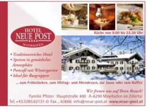 Hotel Neue Post in Mayrhofen im Zillertal